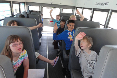 On the bus to GBAM Art Camp